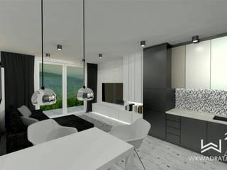 Salon z aneksem kuchennym Wkwadrat Architekt Wnętrz Toruń Nowoczesny salon Płyta MDF Biały
