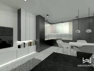 Salon z aneksem kuchennym Wkwadrat Architekt Wnętrz Toruń Aneks kuchenny Płyta MDF Czarny