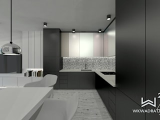 Salon z aneksem kuchennym Wkwadrat Architekt Wnętrz Toruń Małe kuchnie Płyta MDF Czarny