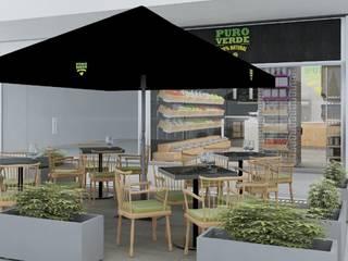 Modelo 3D para Café Vegano Puro Verde: Oficinas y Comercios de estilo  por AUTANA estudio, Rústico