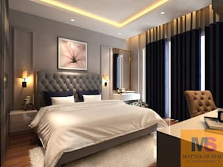 MASTER BEDROOM DESIGN (LANDMARK AVENUE): minimalist  by Matter Of Space Pvt. Ltd.,Minimalist Glass