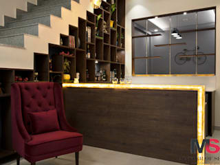 BAR AREA UNDER STAIRCASE (LANDMARK AVENUE):  Stairs by Matter Of Space Pvt. Ltd.