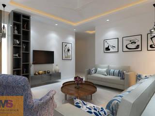 LIVING AREA DESIGN (VATIKA VILLAS):  Living room by Matter Of Space Pvt. Ltd.