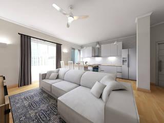 Home Staging Virtuale Living Soggiorno moderno di Planimetrie Realistiche Moderno
