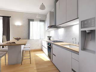 Home Staging Virtuale Living Cucina in stile classico di Planimetrie Realistiche Classico