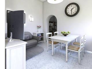 Home Staging Virtuale Appartamento Soggiorno in stile mediterraneo di Planimetrie Realistiche Mediterraneo