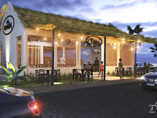 RENDER AND DESIGN OF A PALAPA BAR de Arquival Arquitecto Renderista