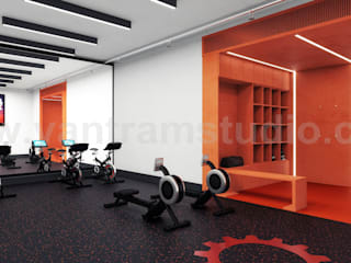 Commercial Fitness GYM 3D Interior Rendering Ideas by Architectural Rendering Companies, Bern – UK Modern Fitness Odası Yantram Architectural Design Studio Modern