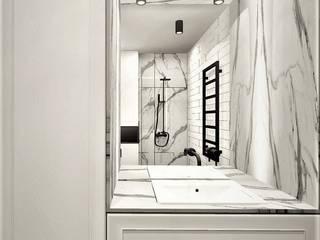 Łazienka w stylu loftowym Wkwadrat Architekt Wnętrz Toruń Industrialna łazienka Marmur Biały