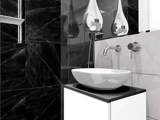 Malutka łazienka w bloku Wkwadrat Architekt Wnętrz Toruń Nowoczesna łazienka Marmur Czarny