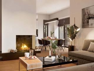Дизайн інтер'єру будинку в стилі мінімалізм Марина Янченкова Вітальня Білий
