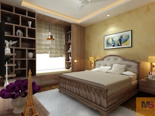 GUEST ROOM AND MBR (VATIKA VILLA):  Small bedroom by Matter Of Space Pvt. Ltd.