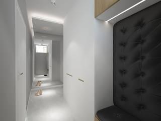 Ostródzka Nowoczesny korytarz, przedpokój i schody od Patryk Kowalski Architektura i projektowanie wnętrz Nowoczesny