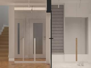 Długa Nowoczesny korytarz, przedpokój i schody od Patryk Kowalski Architektura i projektowanie wnętrz Nowoczesny