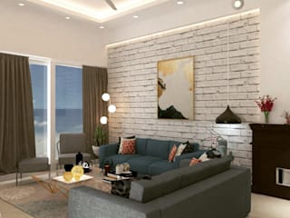 Maayish Architects Living room Bricks White