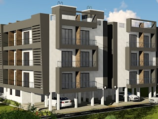 STILT+3 RESIDENTIAL BUILDING AT BOISAR, PALGHAR:  Multi-Family house by HARDIK PATIL ARCHITECTS,
