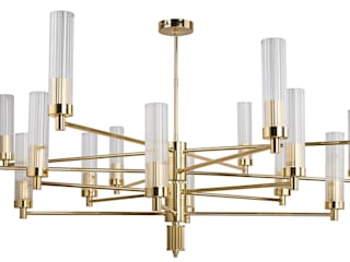Contemporary Gold Brass Luxury Chandelier SETI 8 Arms Glass Lamp Shade 클래식스타일 거실 by Luxury Chandelier 클래식