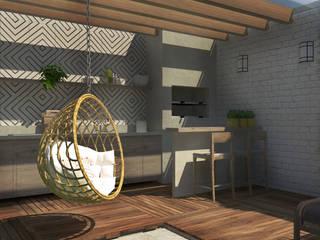 Churrasqueira: Jardins de fachadas de casas  por Mirart Arquitetura,Moderno Madeira Efeito de madeira