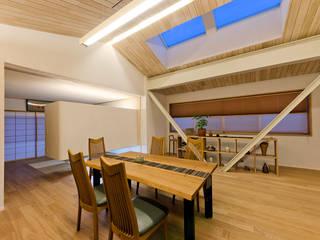 大きな船底天井のある家 和風デザインの ダイニング の 一級建築士事務所 感共ラボの森 和風