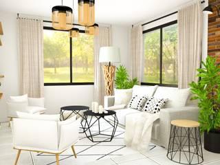 Une ambiance moderne et industriel: Salon de style  par D.DESIGN,