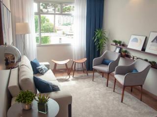 Déco&Co. Arquitetura Ruang Keluarga Modern Kayu Blue