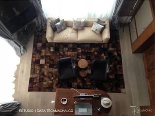 RESIDENCIAL | CASA UNIFAMILIAR TECAMACHALCO: Salas de estilo  por Tk arquitectura, Moderno