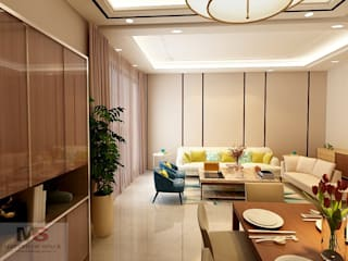 LIVING AND DINING AREA DESIGN (GURGAON):  Living room by Matter Of Space Pvt. Ltd.