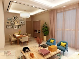 Living + dining area Matter Of Space Pvt. Ltd. Modern Living Room Pink