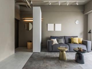 北投c宅 现代客厅設計點子、靈感 & 圖片 根據 初向設計 現代風
