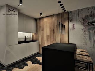 Apartament na wynajem w Kołobrzegu Wkwadrat Architekt Wnętrz Toruń Małe kuchnie Drewno Szary