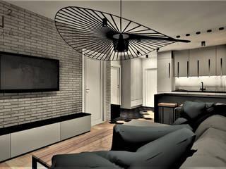 Apartament na wynajem w Kołobrzegu Wkwadrat Architekt Wnętrz Toruń Industrialny salon Cegły Szary