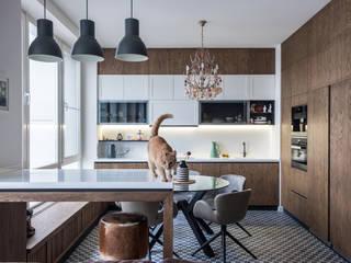 Дизайн интерьера квартиры сутдии для молодой семьи с ребенком (ЖК АЭРОБУС):  в . Автор – Лана Веригина ,