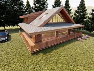 tomruk villa Modern Balkon, Veranda & Teras Dost ahşap Modern