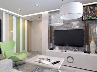 Фьюжн: слияние теплого минимализма и ар-деко в интерьере Гостиные в эклектичном стиле от Fusion Dots Эклектичный