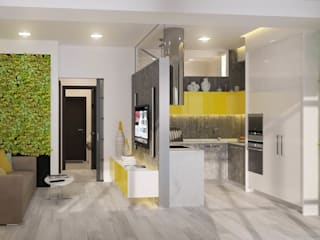 Эко-лофт: интерьер в двухуровневой квартире Гостиные в эклектичном стиле от Fusion Dots Эклектичный