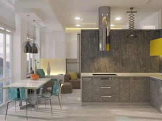 Эко-лофт: интерьер в двухуровневой квартире Кухни в эклектичном стиле от Fusion Dots Эклектичный