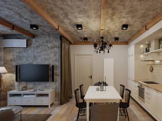 Сканди-лофт: интерьер в нюансах Столовая комната в эклектичном стиле от Fusion Dots Эклектичный