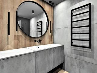 Łazienka w apartamencie na wynajem Wkwadrat Architekt Wnętrz Toruń Nowoczesna łazienka Drewno Szary