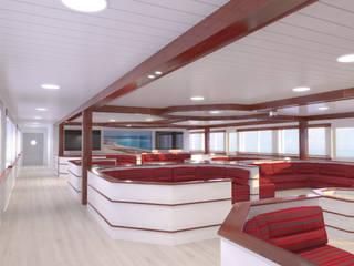 DISEÑO DEL INTERIOR DE UN BARCO COMERCIAL: Salones de estilo  de INARQ Espacio, Mediterráneo