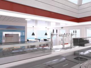 DISEÑO DEL INTERIOR DE UN BARCO COMERCIAL: Cocinas de estilo  de INARQ Espacio, Mediterráneo