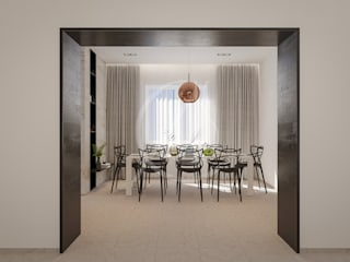Modern Minimal Interior Design:  Dining room by Comelite Architecture, Structure and Interior Design