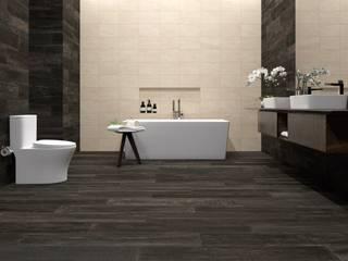 Baño con muro estilo mármol y piso estilo madera Baños modernos de Interceramic MX Moderno Cerámico