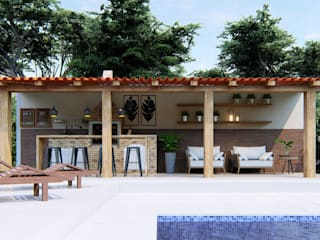 Studio MP Interiores Rustic style balcony, veranda & terrace Wood Wood effect