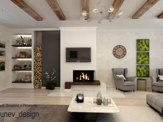 Дизайн квартиры с камином Гостиная в стиле минимализм от Цунёв_Дизайн. Студия интерьерных решений. Минимализм