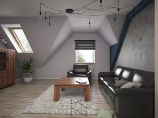 Mieszkanie na poddaszu, 58 m2, Polkowice Nowoczesny salon od KN.wnętrza Nowoczesny