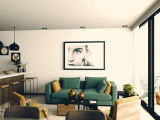 Apartamentos en Playa del Carmen Salones modernos de aerrecu Moderno