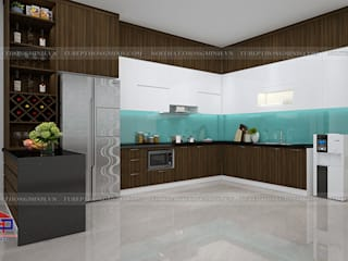 Công trình tủ bếp Melamine nhà anh Cường – Khu đô thị Đô Nghĩa Hà Đông: hiện đại  by Nội thất Hpro, Hiện đại