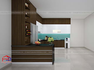 Công trình tủ bếp Melamine nhà anh Cường – Khu đô thị Đô Nghĩa Hà Đông Nội thất Hpro KitchenCabinets & shelves Multicolored