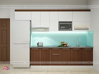 Công trình tủ bếp laminate và nội thất phòng ngủ gỗ công nghiệp melamine nhà chị Lâm Anh - Xuân La Nội thất Hpro KitchenCabinets & shelves Multicolored
