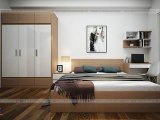 Công trình tủ bếp laminate và nội thất phòng ngủ gỗ công nghiệp melamine nhà chị Lâm Anh - Xuân La: hiện đại  by Nội thất Hpro, Hiện đại
